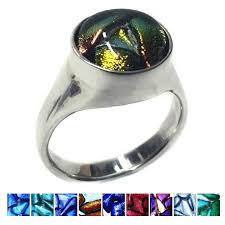ashes into glass memorial glass silver dichroic glass signet ring