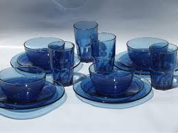 vintage cobalt blue mexican glass dishes set of crisa mexico