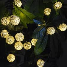 solar powered outdoor string lights 20 pieces rattan led solar powered outdoor string lighting for