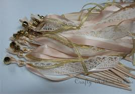 gold lace ribbon 75 metallic ribbon wedding wands lace ribbon bells gold