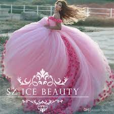 pink dress fluffy gown pink wedding dress with 3d flowers shoulder