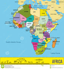 Detailed Map Of Africa by Map Of Africa With All Countries And Their Capitals Stock Vector