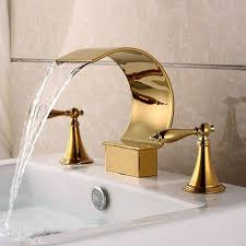 Waterfall Faucet Bathroom Gold Polished Waterfall Bathroom Sink Faucet Widespread 3 Holes