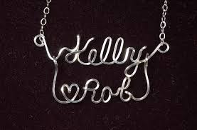 Wire Name Necklace Two Name Necklace Romance Style Sterling Silver