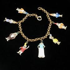 white charm bracelet images Snow white seven dwarfs charm bracelet vintage enamel scarce JPG