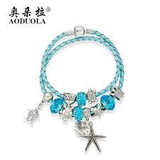 leather bracelet silver charms images Aoduola fashion jewelry ocean style sea turtles charm bracelets jpg