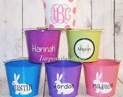 personalized easter buckets metal easter etsy