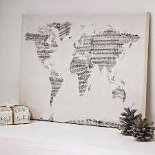 Map Art Sheet Music World Map Art Print Sheet Music Printing And Walls
