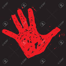blood red paint red hand print hand print paint blood trace vector illustration