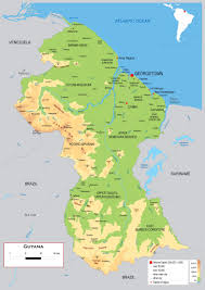 Geographical Map Of South America Guyana Map Geography Of Guyana Map Of Guyana Worldatlascom Guyana
