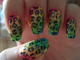rainbow glitter cheetah print nails an animal nail nail