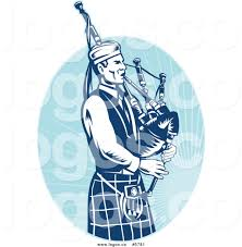 royalty free vector of a logo of a blue scottish bagpipe player by