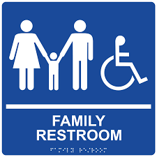 Ada Bathroom Sign Height by Ada Family Restroom Braille Sign Rre 165 99 Whtonblu Restrooms