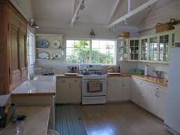 Retro Kitchen Design Ideas by Retro Kitchens White Finish Wooden Corner Shelves Attached Bronze
