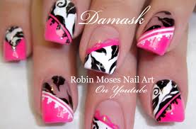 diy elegant damask nails pink and black nail art design tutorial