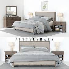 3d model pottery barn toulouse bedroomset with bedside tables