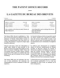 the patent office record la gazette du bureau des brevets