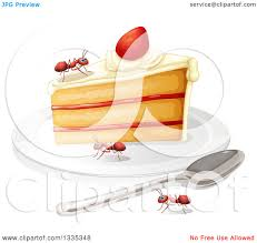 clipart of a piece of cake and ants royalty free vector