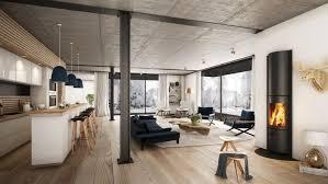 wohnraum wandgestaltung offener wohnraum modern eingerichtet mit kamin einrichten und