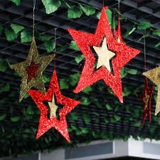 aliexpress com buy 2017 star hanging ornaments hollow glitter