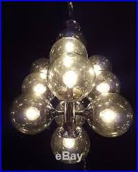 Atomic Chandelier Century Modern Smoky Glass Mcm Chrome Lightolier Chandelier