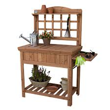 custom potting bench with storage and fold down small tray table