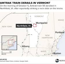 new england central railroad map passenger describes heavy thud as amtrak train derailed in vermont