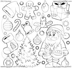 clipart of a black and white santa claus a christmas tree and
