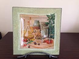 square glass decoupage plate olives home decor