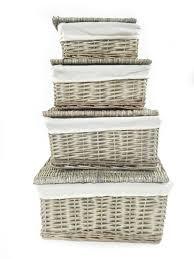 Baby Storage Baskets Black White Grey Lidded Wicker Storage Toy Box Empty Xmas Hamper