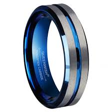blue tungsten rings images Queenwish infinity 6mm blue tungsten carbide ring silver brushed jpg