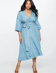 wide tie wide tie chambray wrap dress eloquii