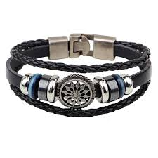 wrap bracelet with anchor images New men jewelry pirate style bronze genuine leather anchor jpg