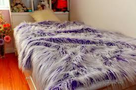 Faux Fur Comforter Royal Purple White Mongolia Frost Long Fur New Bedding Coverlets