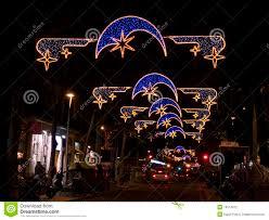 christmas lights in barcelona street stock photography image