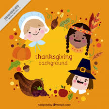 thanksgiving background with different characters vector free