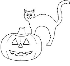 pumpkin jack o lantern with black cat coloring page halloween