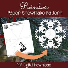 reindeer paper snowflake pattern pdf digital download