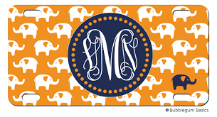 personalized license plate elephant animal jungle initials
