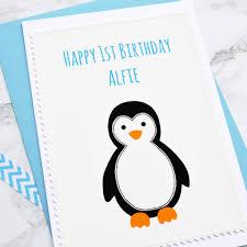 penguin handmade boys 1st birthday card by arnott cards