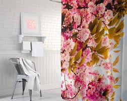 Pink Flower Shower Curtain Dahlia Shower Curtain Navy Blue Pink Gray Shower Curtain