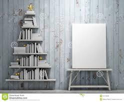 mock up poster and bookshelf shaped christmas tree stock