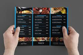 trifold restaurant menu template brochure templates creative