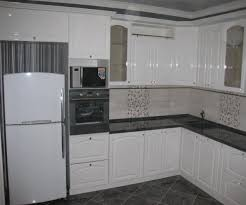 simple white small kitchen ideas with white floral tile backsplash