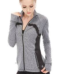 Hoodie With Thumb Holes Womens Icyzone Women U0027s Running Shirt Full Zip Workout Track Jacket With