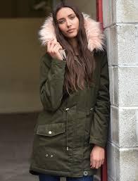 teegan parka jacket in khaki with detachable peachy keen fur hood