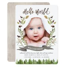 rustic birth invitations announcements zazzle
