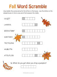 a printable fall word scramble unscramble the jumbled autumn