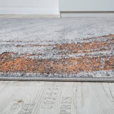 Grey And Orange Rug Classic Designer Rug High Deep Effect Relief Visual Orange Flecked