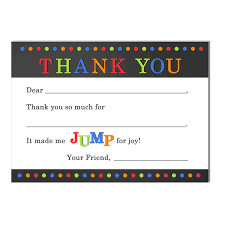 jump trampoline birthday party thank you notes by that party